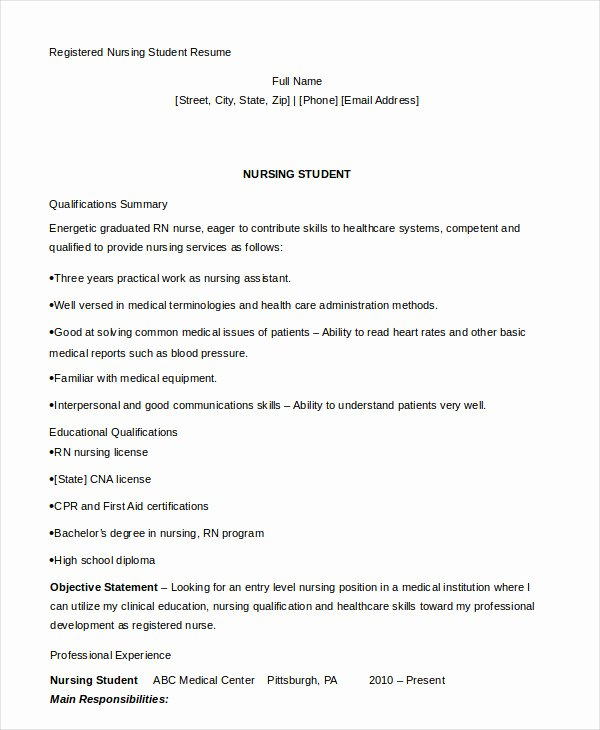 Nurse Resume Template Word Inspirational Nursing Student Resume Example 10 Free Word Pdf
