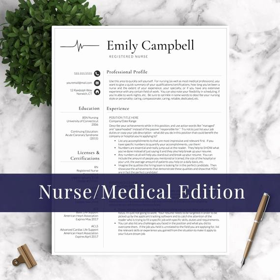Nurse Resume Template Word Lovely Nurse Resume Template for Word & Pages 1 2 by