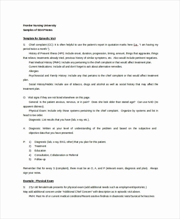 Nursing soap Note Template New 15 soap Note Examples Free Sample Example format