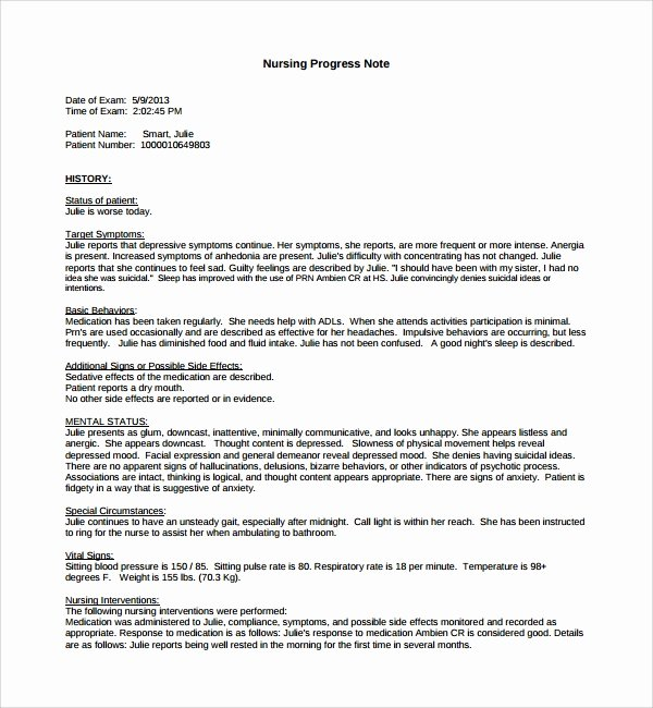 Nursing soap Note Template New 8 Nursing Note Templates – Pdf