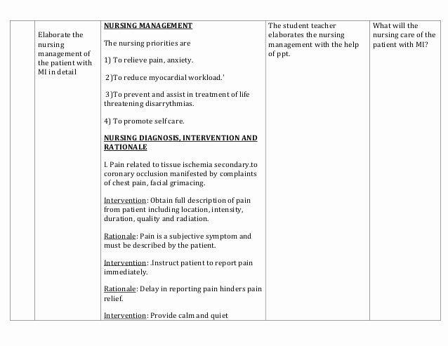 Nursing Teaching Plan Template Beautiful Lesson Plan On Myocardial Infarction