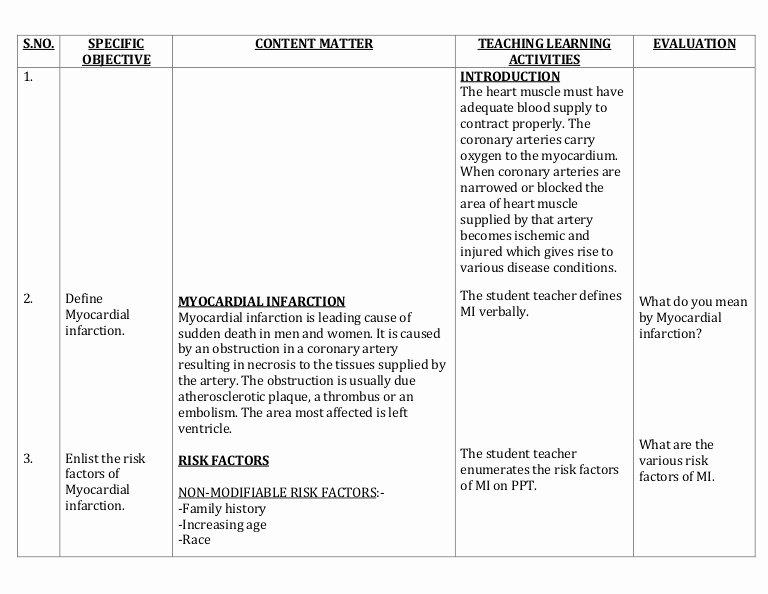 Nursing Teaching Plan Template Best Of Lesson Plan On Myocardial Infarction