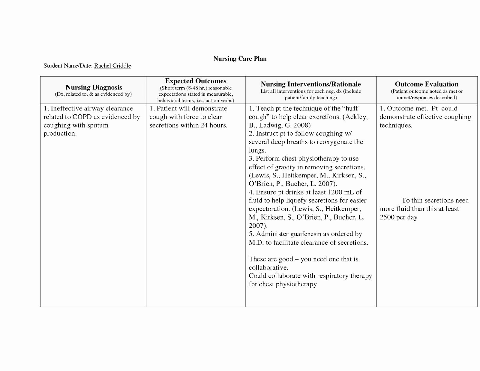 Nursing Teaching Plan Template Fresh Copd Nursing Care Plan Nursing Care Plan Examples