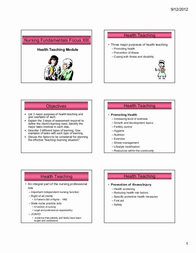 Nursing Teaching Plan Template Luxury Nursing Health Teaching