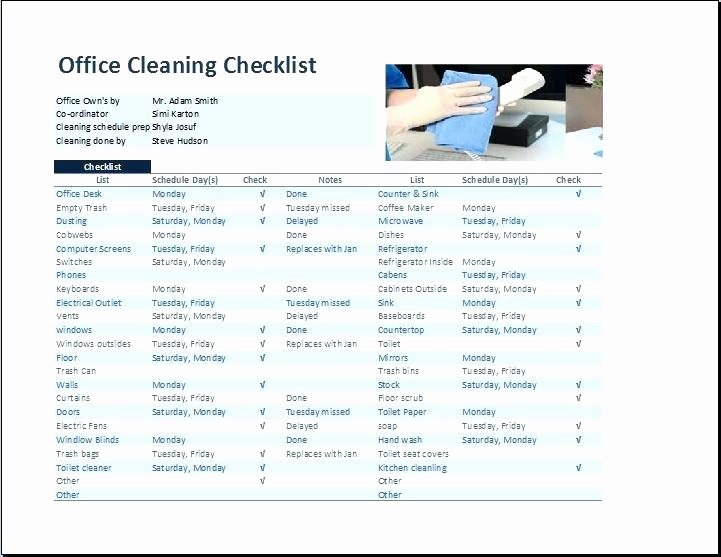 Office Cleaning Checklist Template Elegant Sample House Cleaning Checklist Professional Service