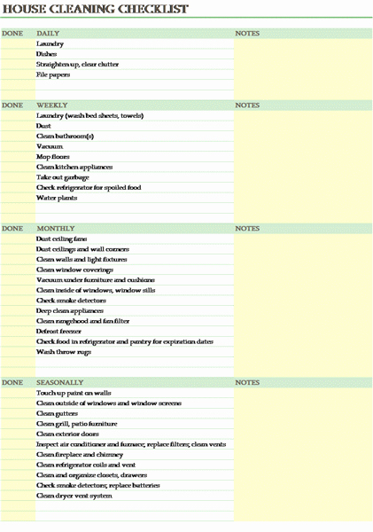 Office Cleaning Checklist Template Inspirational Housekeeping Checklist format for Fice In Excel