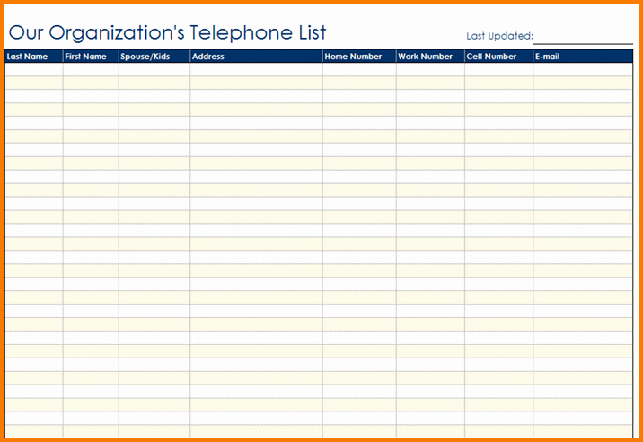 Office Phone List Template Awesome Contact List Template
