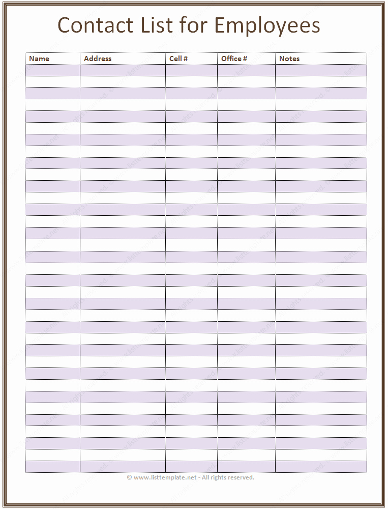Office Phone List Template Beautiful Employee Contact List Template In A Basic format