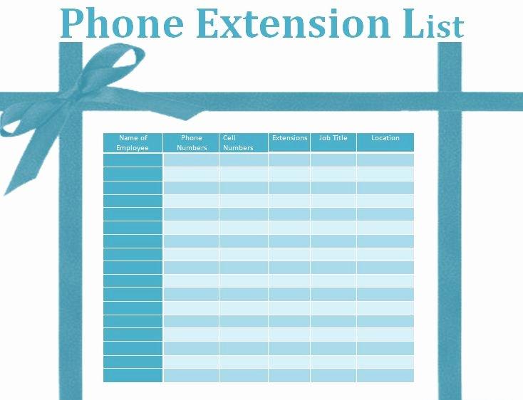 Office Phone List Template Beautiful Phone Extension List Template