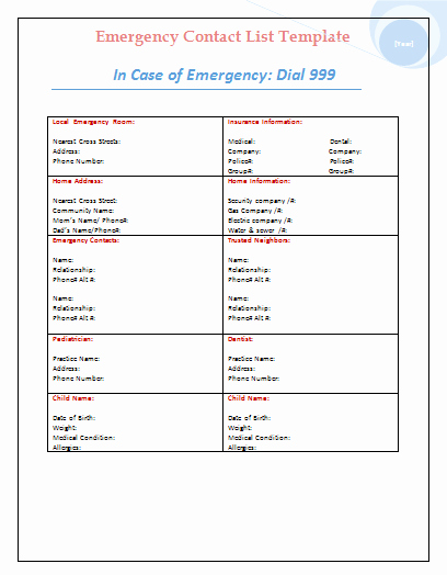 Office Phone List Template Beautiful the Gallery for Emergency Phone Numbers List for Kids