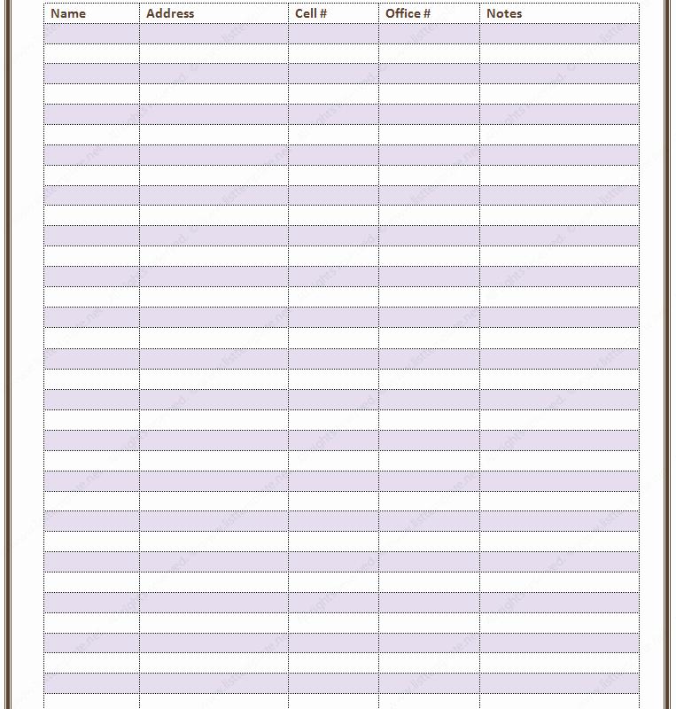Office Phone List Template Elegant Free Printable Contact List Templates