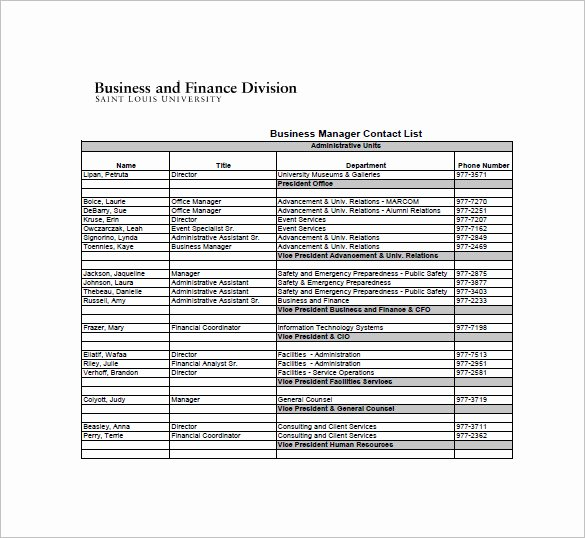 Office Phone List Template Inspirational Contact List Template 19 Free Sample Example format