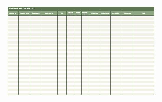 Office Phone List Template New Customer Contact List