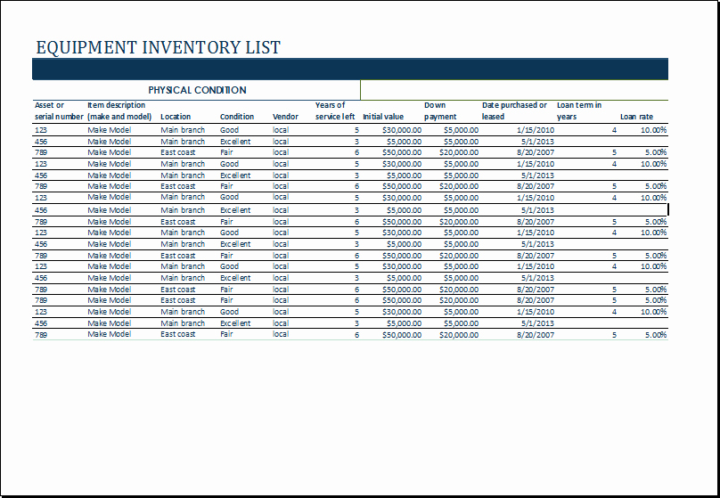 equipment inventory list