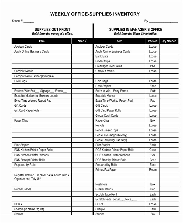 Office Supply List Template Unique 7 Fice Inventory Templates Free Sample Example