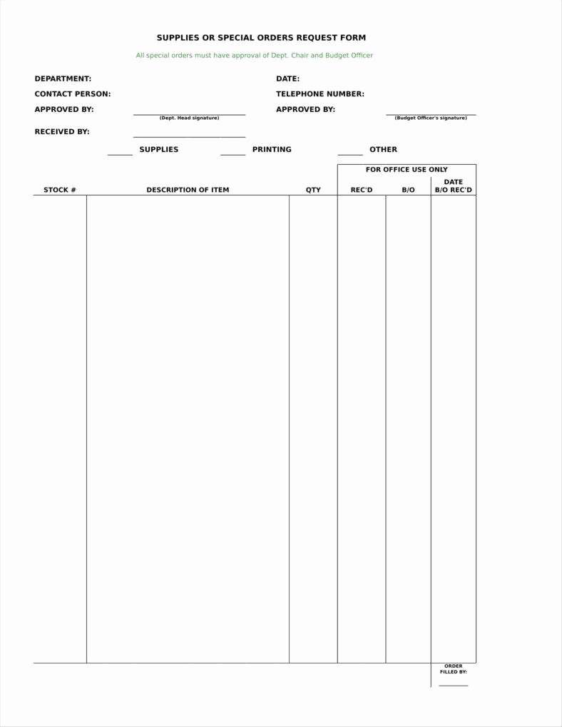 Office Supply order form Template Best Of 9 Equipment order form Templates