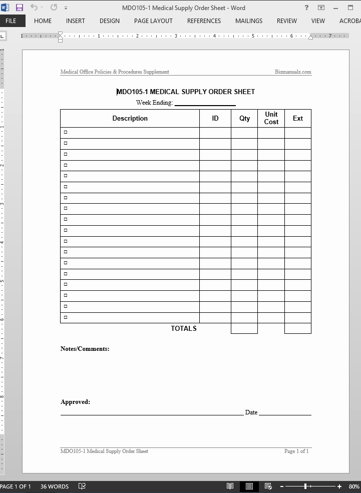 Office Supply order form Template Best Of Medical Supply order Worksheet Template