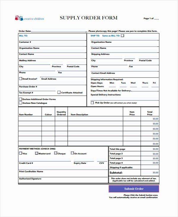 Office Supply order form Template Elegant 10 Supply order Templates Free Sample Example format