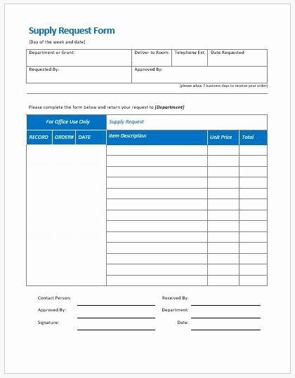 Office Supply order form Template Lovely Supply Request form Templates Ms Word