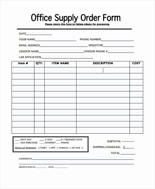 Office Supply order form Template Luxury 29 Blank order Templates