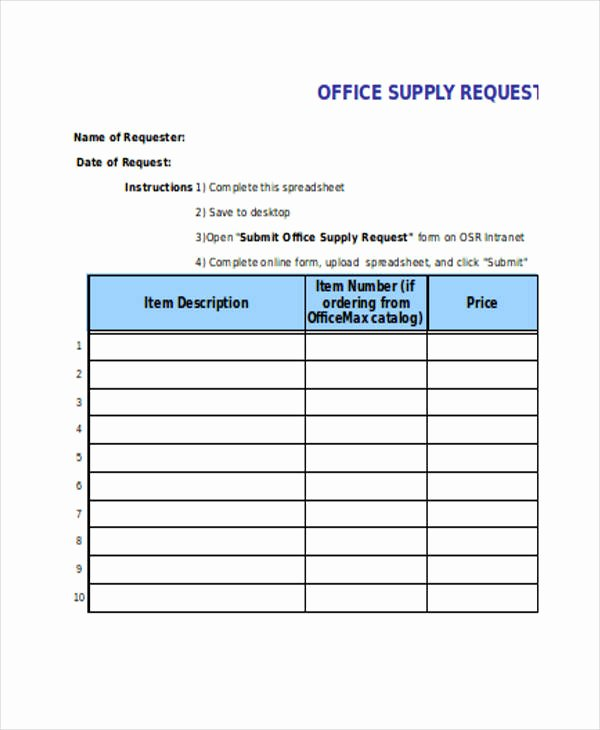Office Supply order form Template Luxury Requisition forms In Excel