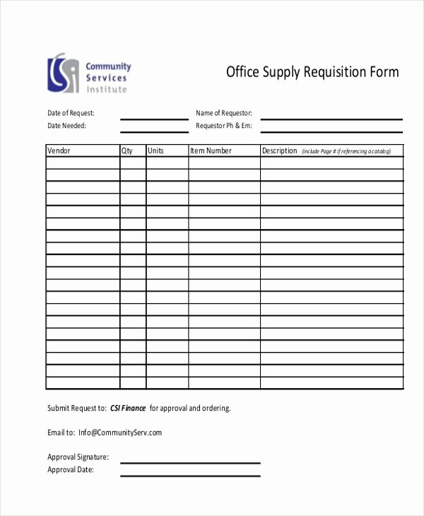 Office Supply order form Template Luxury Supply Requisition Template
