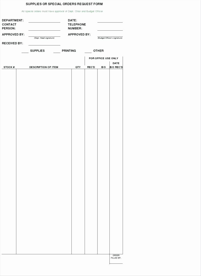 Office Supply order form Template Luxury Template Fice Supply Request Template