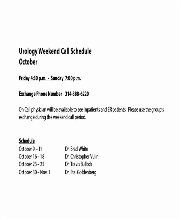 On Call Schedule Template Luxury Call Schedule Template 4 Free Excel Pdf Documents