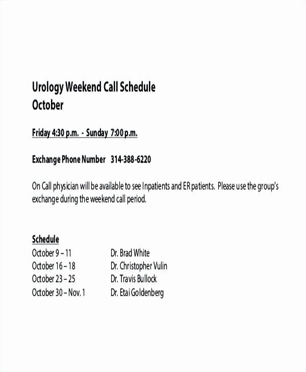 On Call Scheduling Template Luxury Weekend On Call Schedule Template – Bestuniversitiesfo