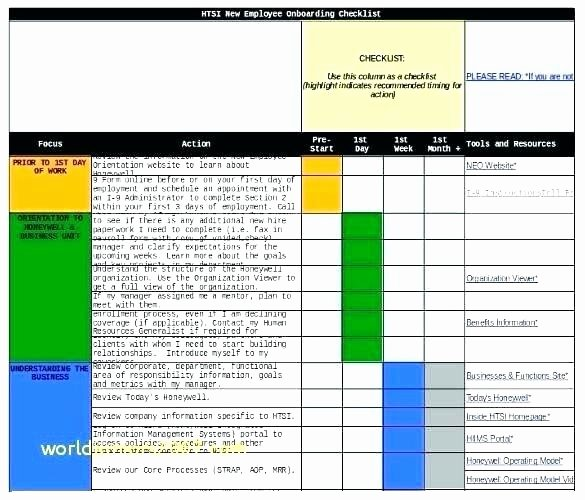 Onboarding Checklist Template Excel Inspirational New Employee Checklist Template Excel List Job Task