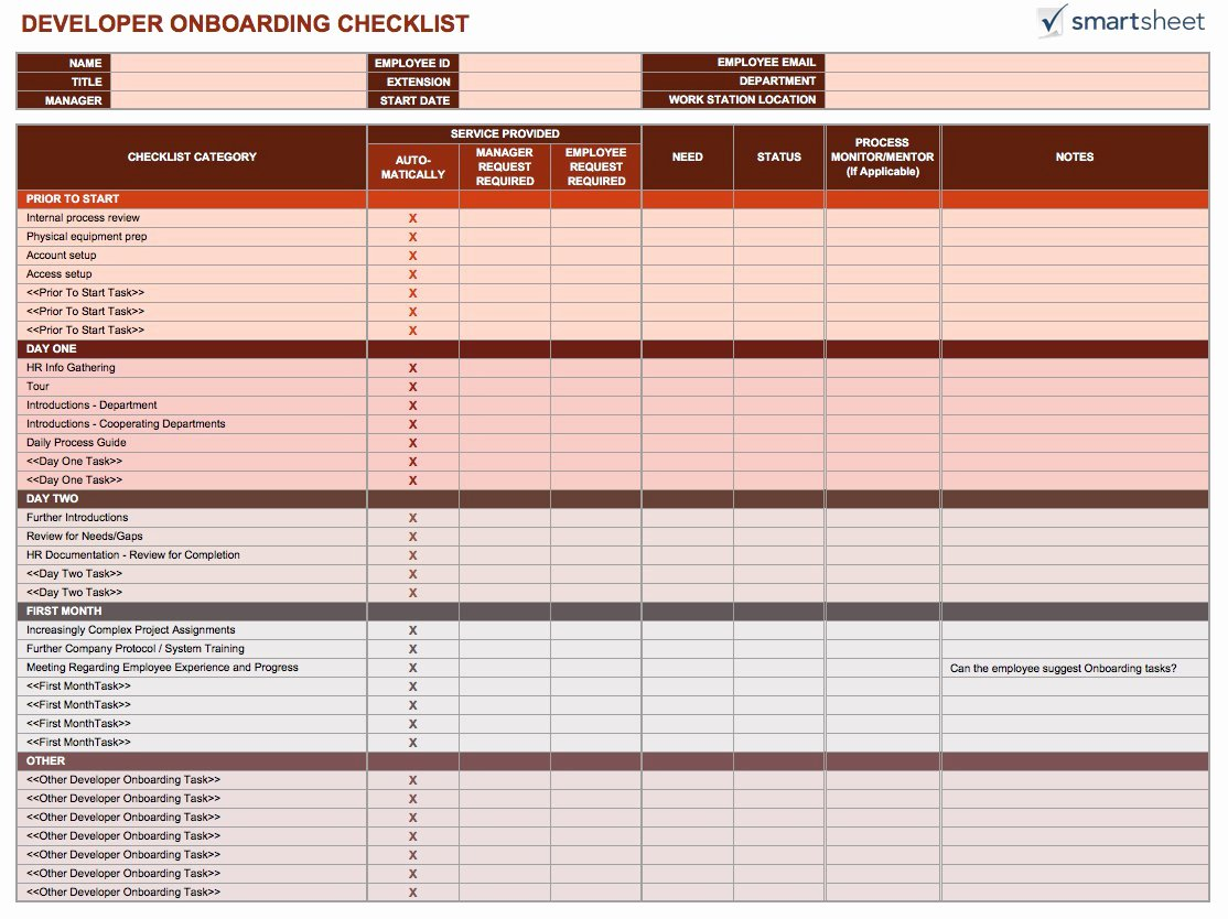 Onboarding Checklist Template Excel New Free Boarding Checklists and Templates