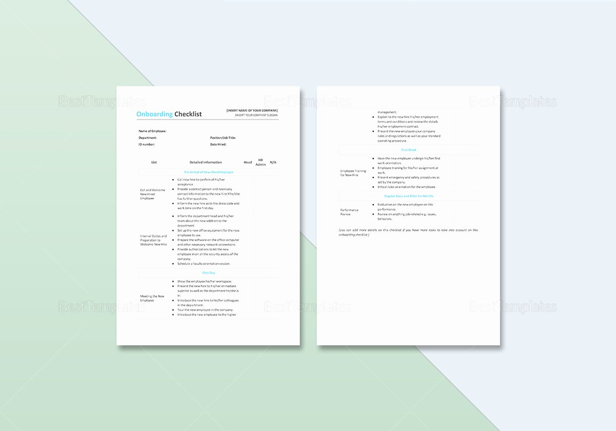 Onboarding Checklist Template Word Awesome Boarding Checklist Template In Word Excel Apple Pages