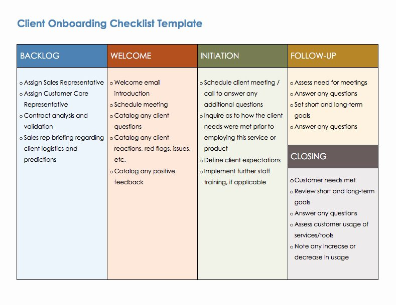 Onboarding Checklist Template Word Awesome Free Boarding Checklists and Templates