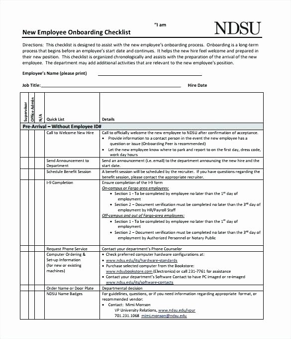 Onboarding Checklist Template Word Beautiful Checklist Free Employee Template Definition Biology Sample