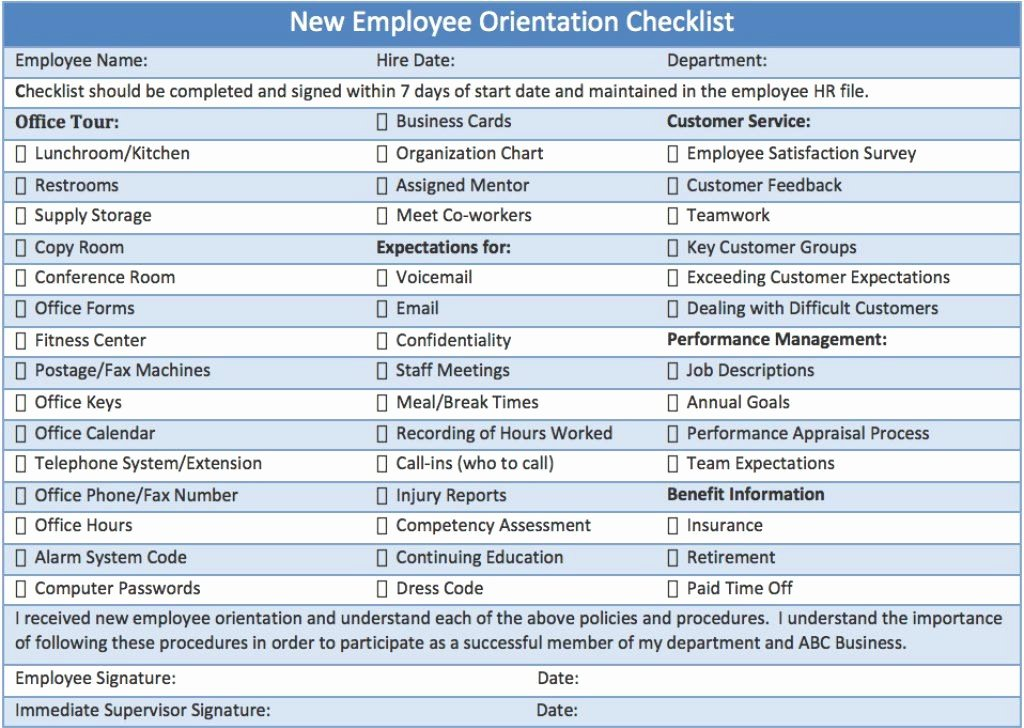 Onboarding Checklist Template Word Beautiful New Employee orientation Checklist Career Info