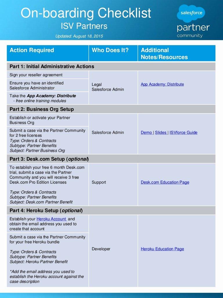 Onboarding Checklist Template Word Elegant isv Partner Boarding Checklist