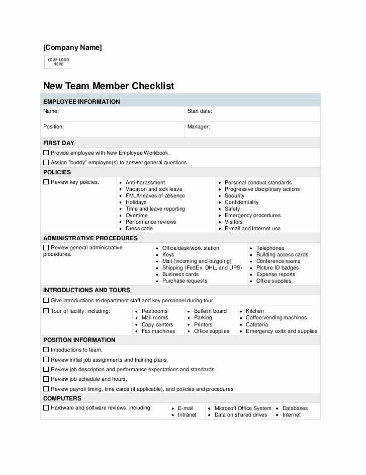 Onboarding Checklist Template Word Luxury New Employee orientation Checklist Template