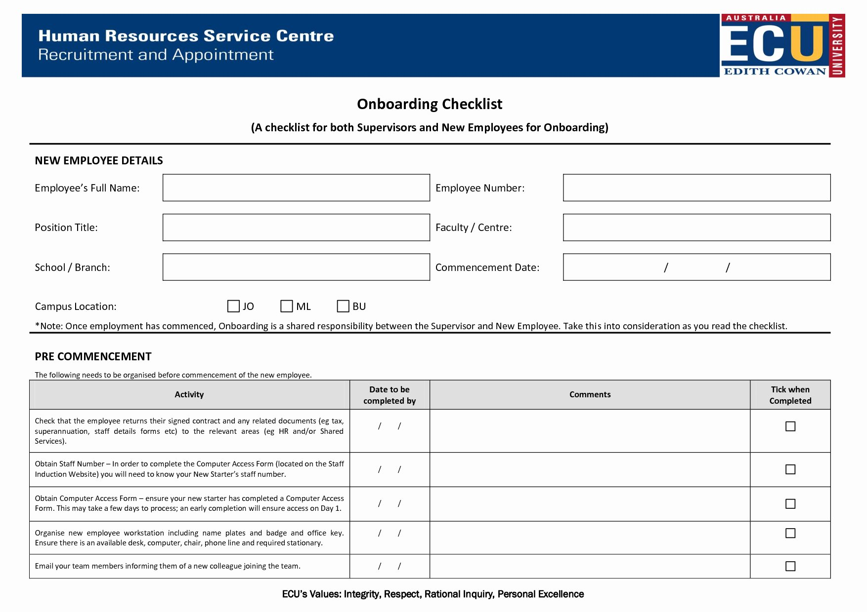 Onboarding Checklist Template Word New Boarding Checklist Template Excel