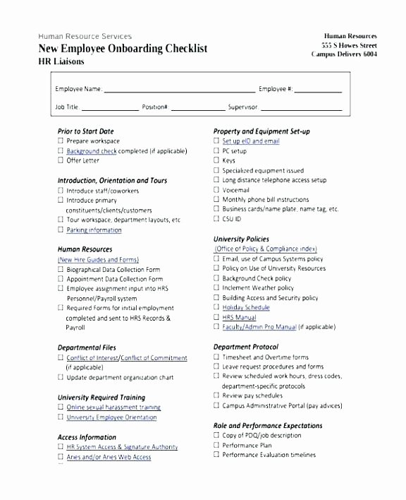 Onboarding Checklist Template Word New Boarding Checklist Template Plan Template Employee