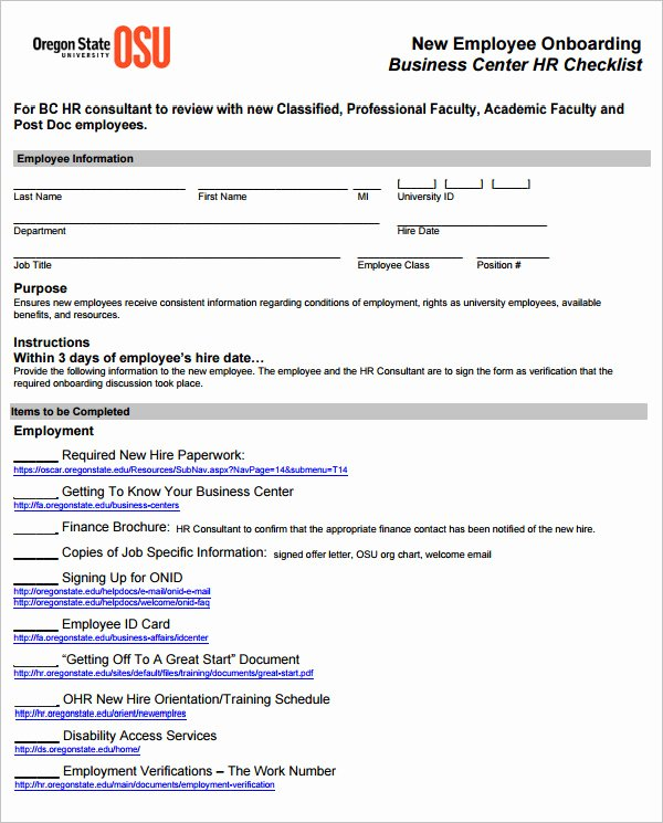 Onboarding Checklist Template Word Unique 26 Hr Checklist Templates Free Sample Example format