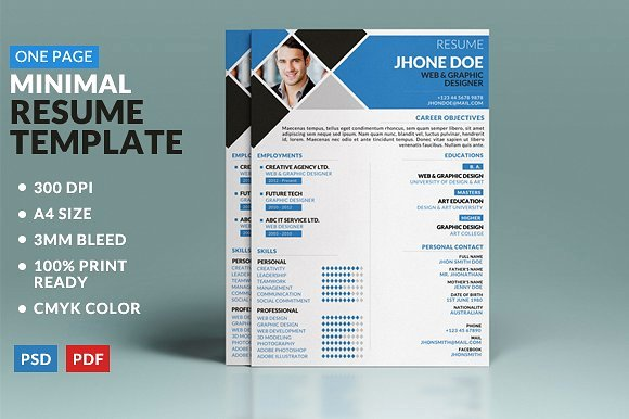 One Page Brochure Template New Minimal E Page Resume Template Templates with E Page