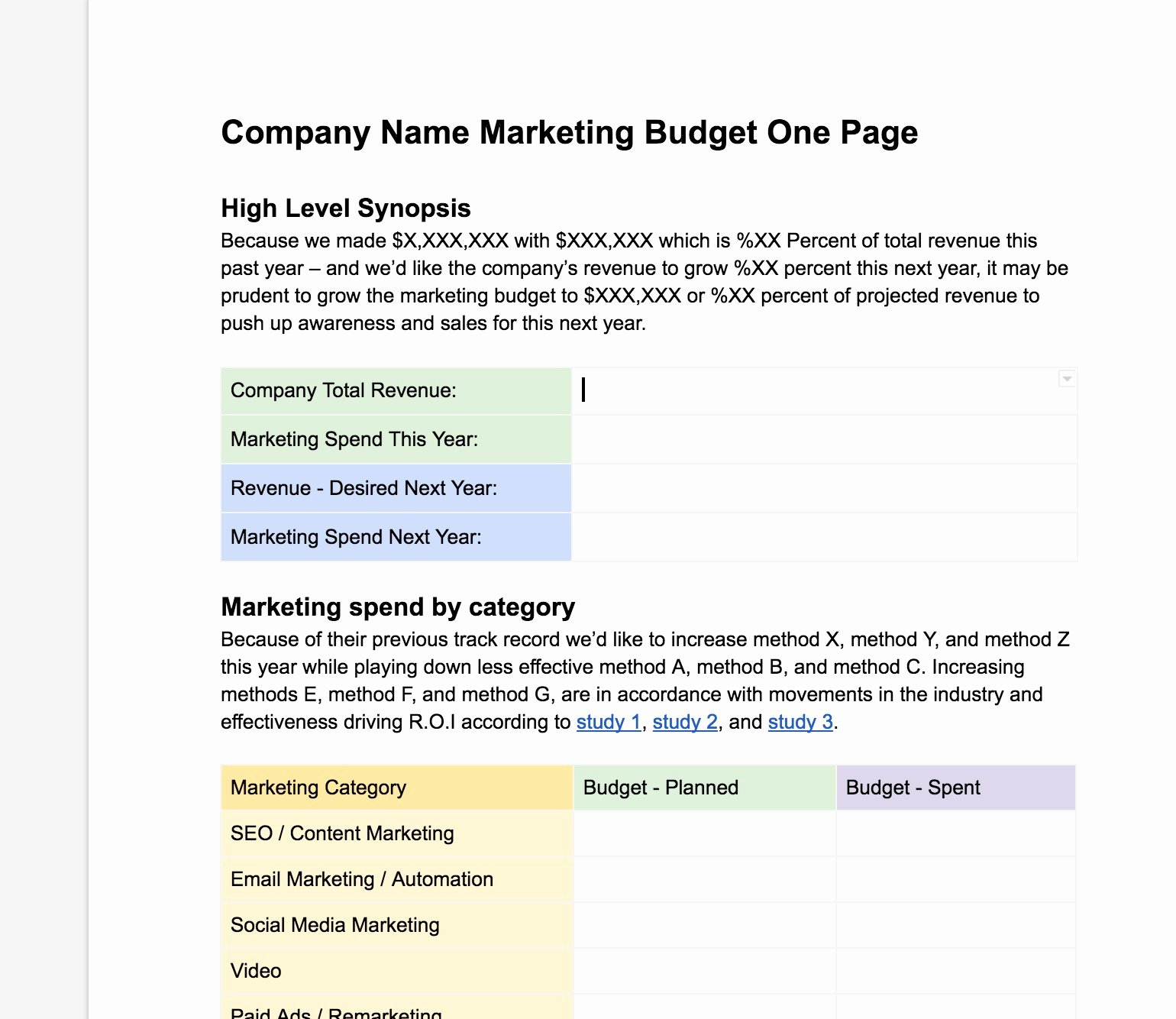 One Page Marketing Plan Template Lovely Easy Free Marketing Bud Ing E Page Template