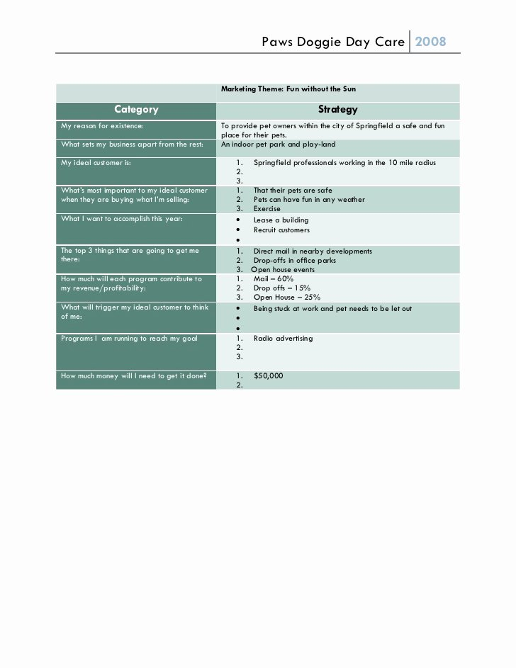 One Page Marketing Plan Template Luxury E Page Marketing Plan 2 Sample Paws