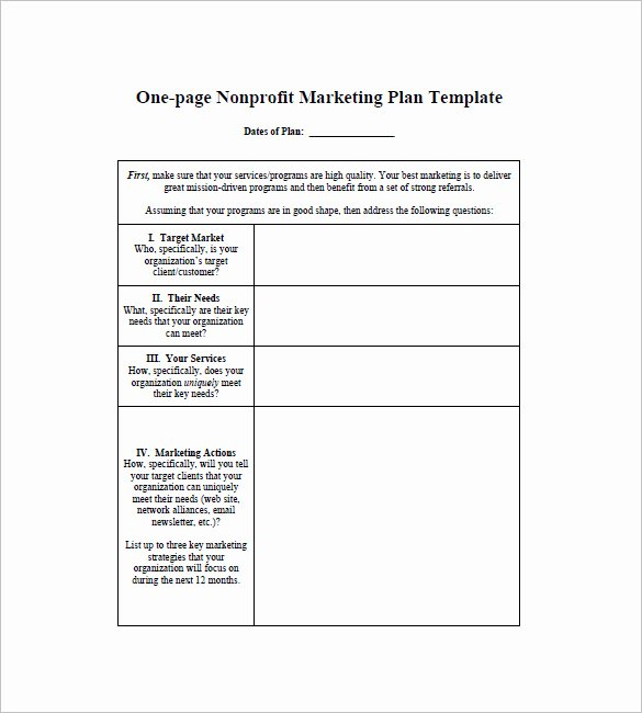 One Page Marketing Plan Template Unique E Page Marketing Plan Template – 16 Free Sample