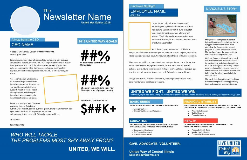One Page Newsletter Template Best Of 2018 Campaign Marketing toolkit – United Way Of Central