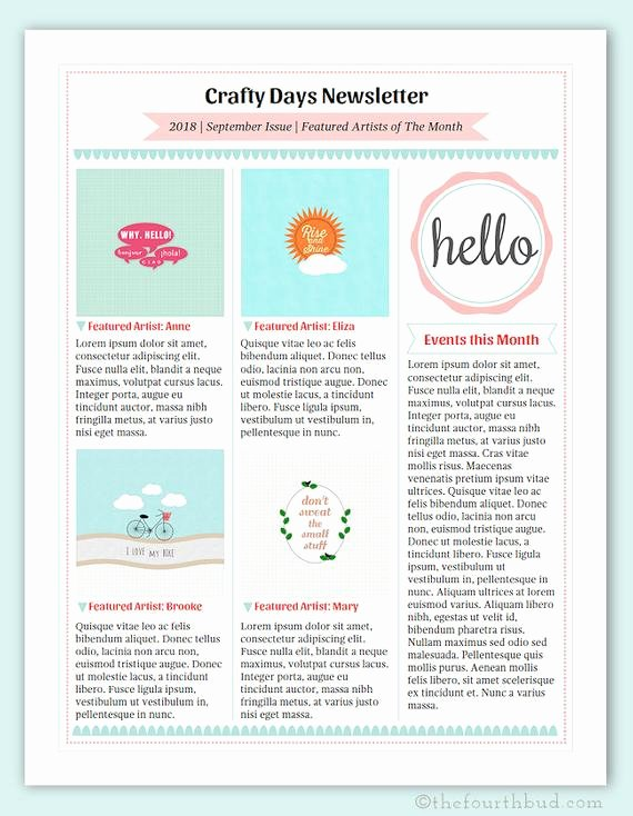 One Page Newsletter Template Elegant Cotton Candy Newsletter Layout 3 Newsletter Template In Pdf