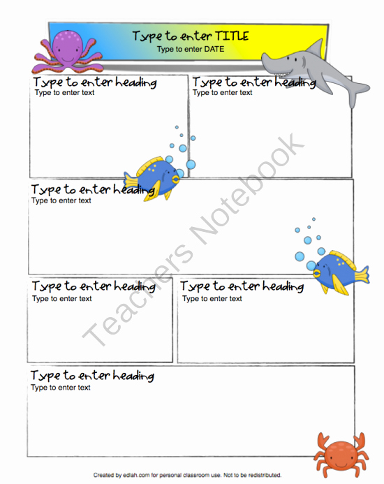 One Page Newsletter Template Fresh Ocean Newsletter for Word From Edlah Preschool Resources