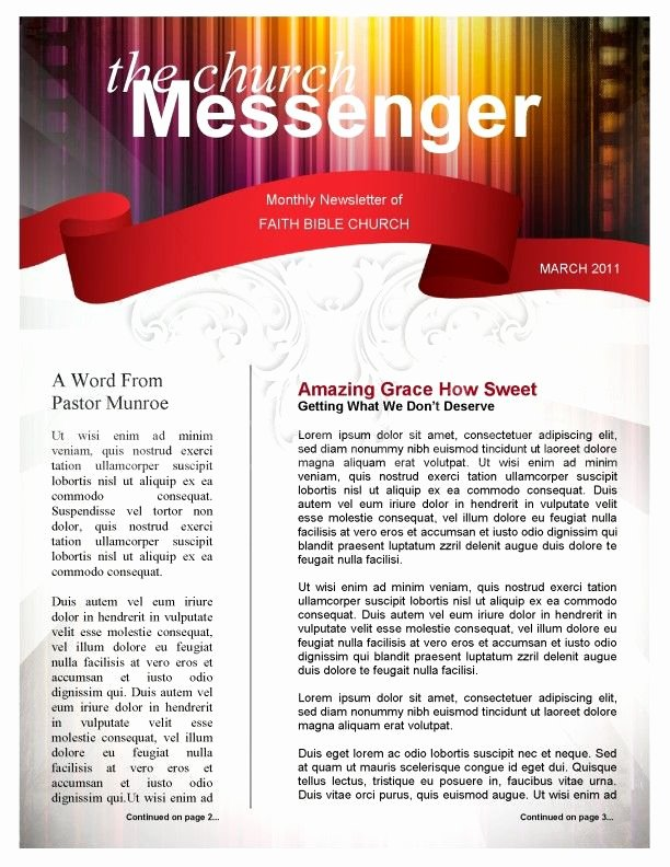 One Page Newsletter Template Lovely Colors Church Newsletter Template Page 1