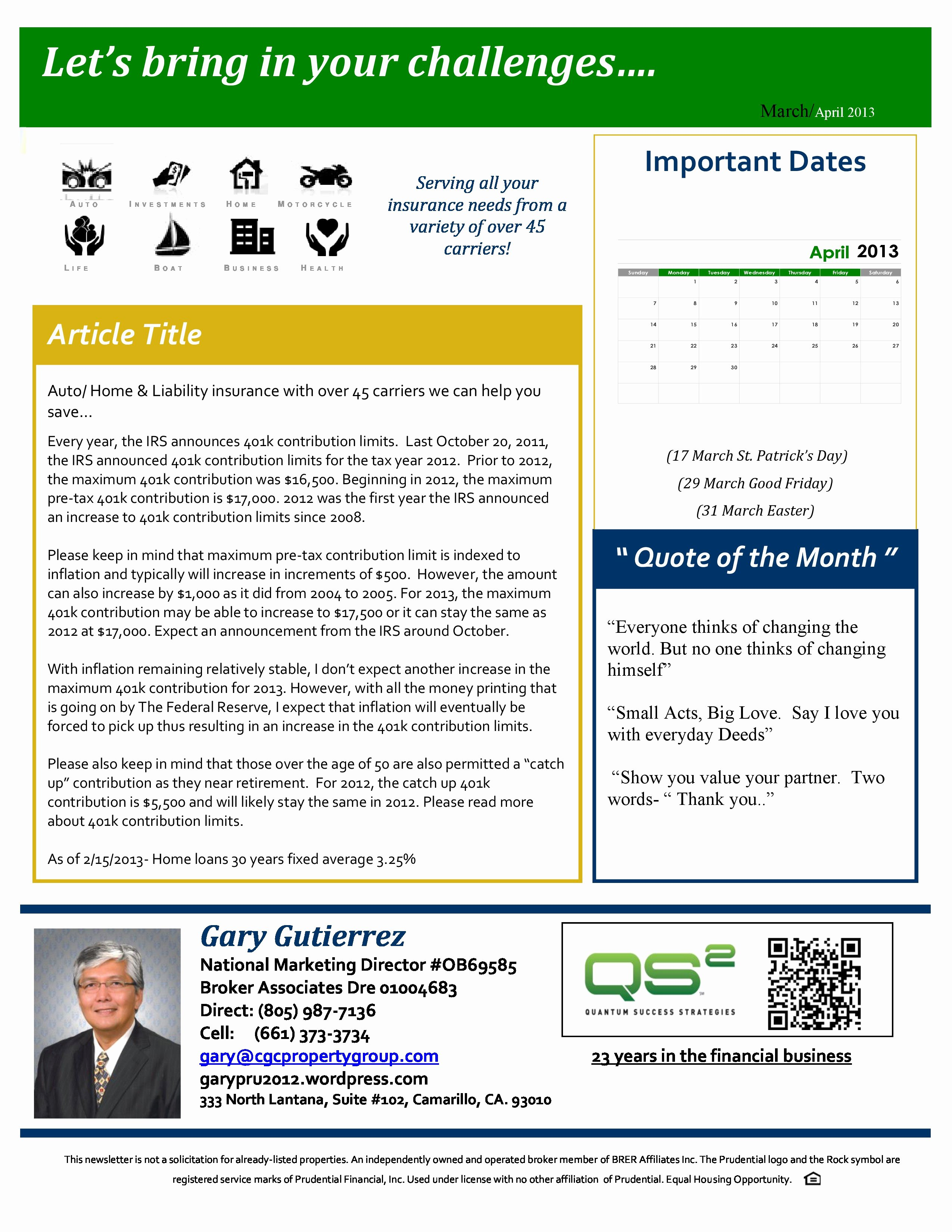 One Page Newsletter Template Luxury Gary Gutierrez Prudential Real Estate