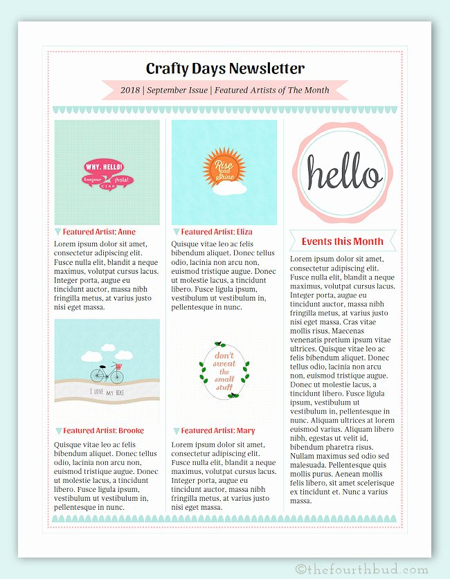 One Page Newsletter Template New Cotton Candy Newsletter Layout 3 Newsletter Template In Pdf